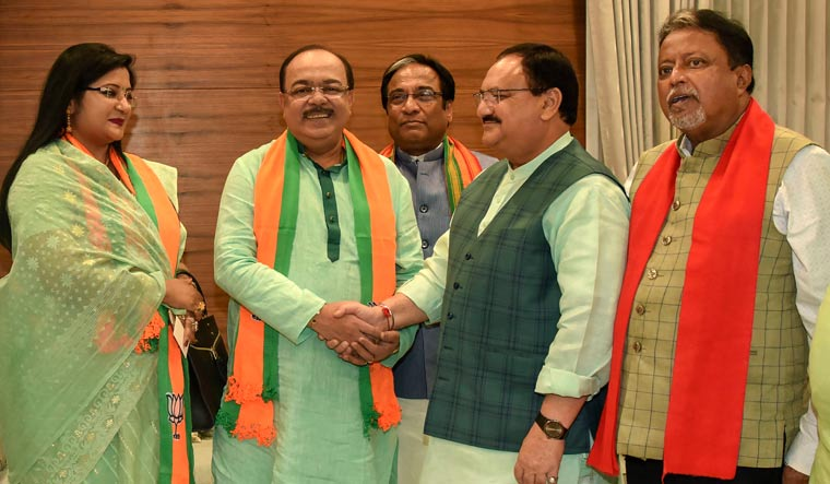 Former Kolkata mayor Sovan Chatterjee and his close associate Baishakhi Banerjee join BJP in the presence of party's working president J.P. Nadda, at the BJP headquarters in New Delhi | PTI