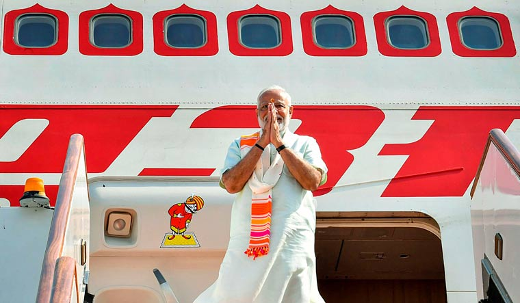 Prime Minister Narendra Modi emplanes for France to participate in the G-7 summit meetings, in Biarritz, Bahrain | PTI