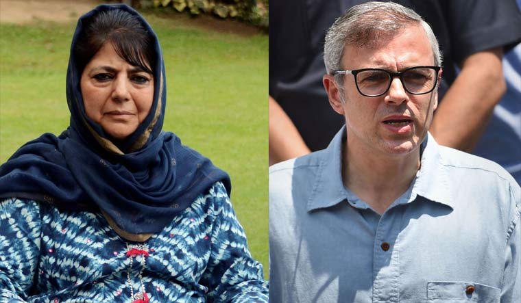 PDP chief Mehbooba Mufti and National Conference vice president Omar Abdullah