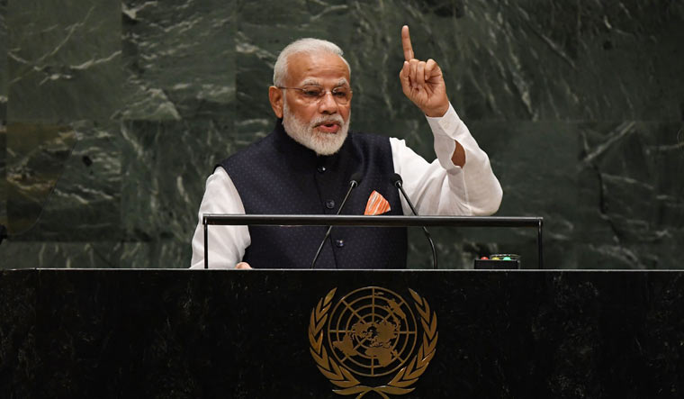 Prime Minister Narendra Modi speaks during the 74th session of the General Assembly at UN Headquarters in New York | AFP