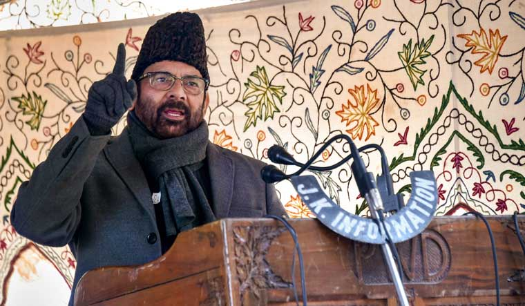 Union Minister for Minority Affairs Mukhtar Abbas Naqvi addresses a public outreach programme at Harwan, on the outskirts of Srinagar | PTI