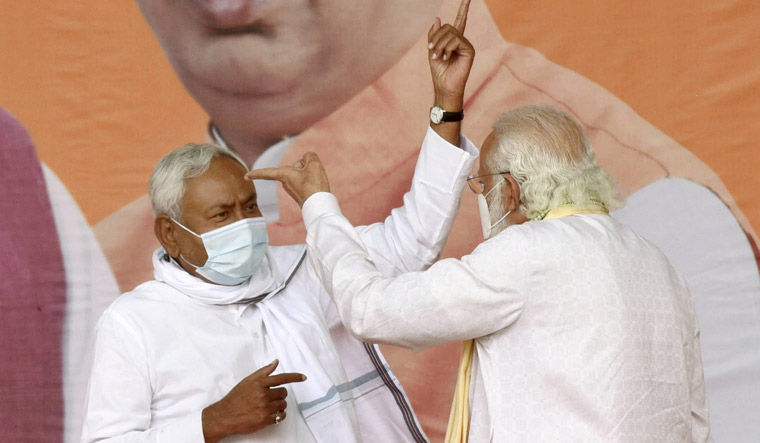 Prime Minister Narendra Modi with Bihar Chief Minister and Janta Dal-United President Nitish Kumar during an election rally, in Sasaram | PTI