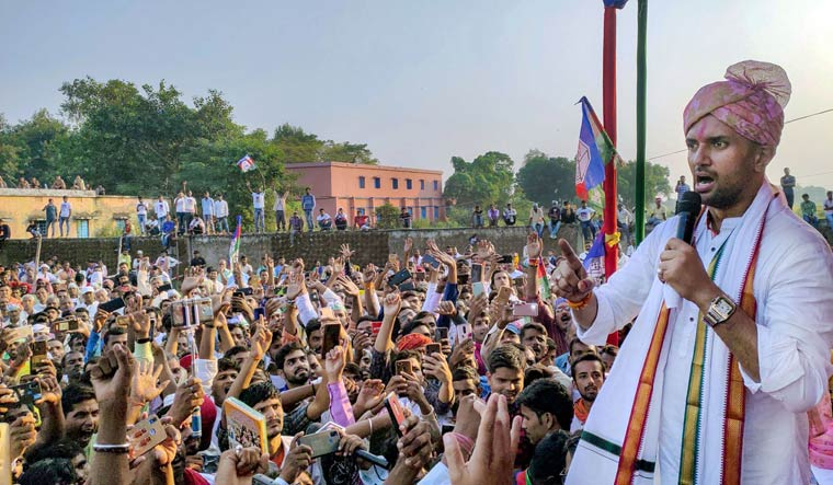 Lok Janshakti Party (LJP) President Chirag Paswan addresses a rally ahead of Bihar assembly polls, in Buxar district | PTI