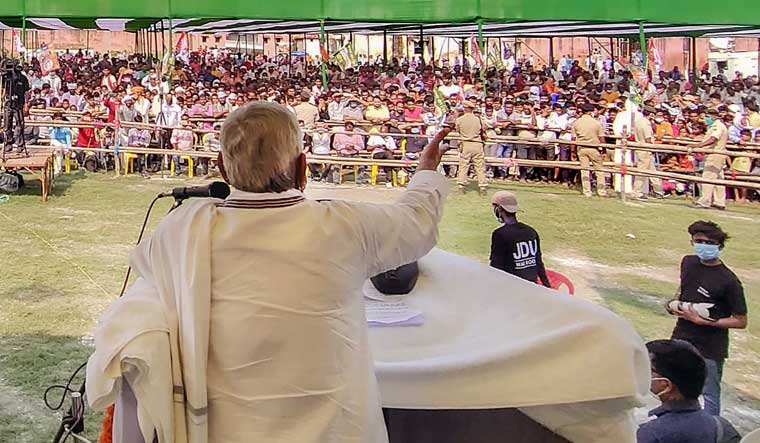 Bihar Chief Minister Nitish Kumar addresses an election campaign rally, ahead of the Assembly elections, at Mahua in Vaishali district | PTI