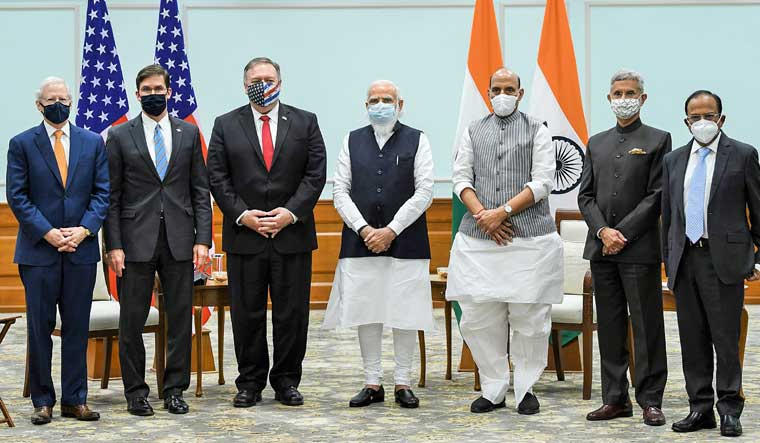 Prime Minister Narendra Modi with US Secretary of State Mike Pompeo and US Defence Secretary Mark T. Esper during a meeting in New Delhi. External Affairs Minister S. Jaishankar, Defence Minister Rajnath Singh, National Security Advisor Ajit Doval and US Ambassador to India Ken Juster are also seen | PTI