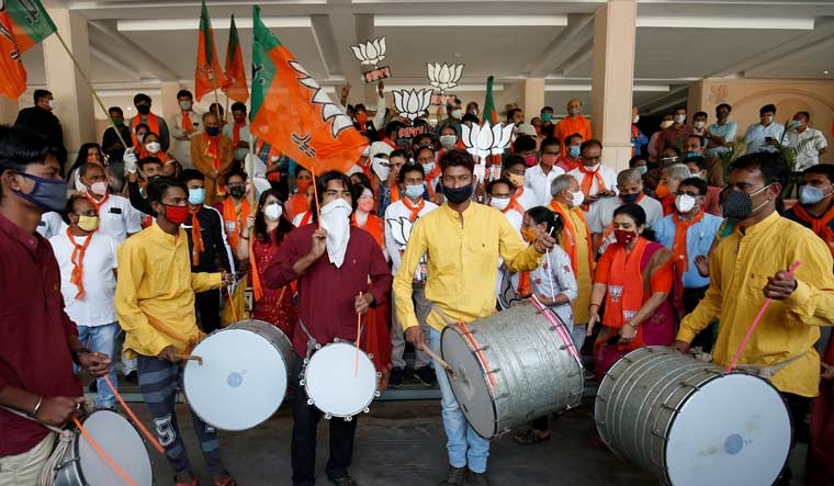 BJP supporters celebrate party's victory in byelections in Gandhinagar | Reuters