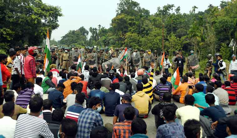 Tripura-Joint-Movement-Committee-protests-bru-refugees-pti