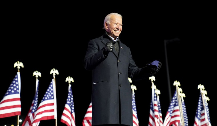 [File] Joe Biden smiles during a drive-in campaign rally at Heinz Field in Pittsburgh | Reuters