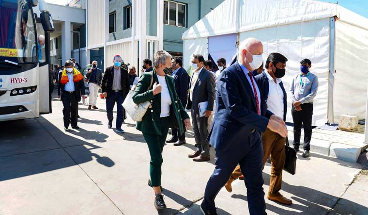 Envoys from various countries arrive at Bharat Biotech to review the development of COVID-19 vaccine, in Hyderabad | PTI