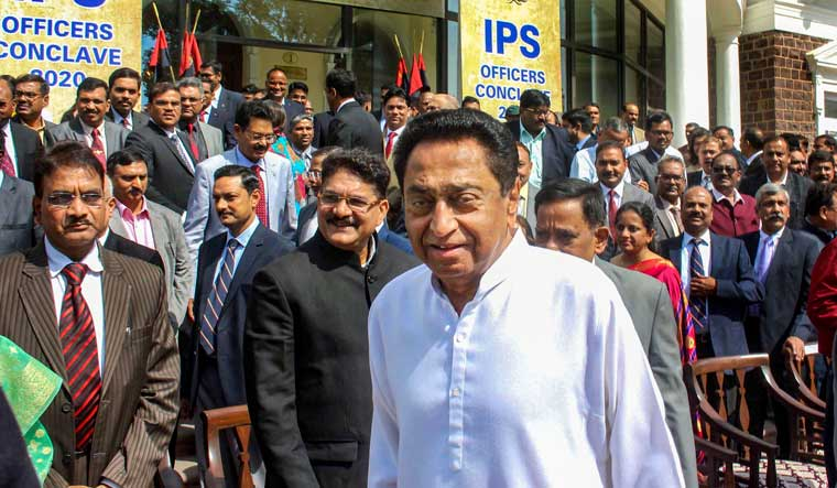 Madhya Pradesh Chief Minister Kamal Nath at the inaugural session of two-day IPS Officers Conclave-2020, at Minto hall in Bhopal | PTI