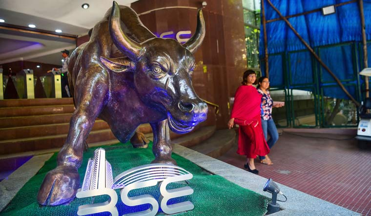 File photo of the BSE bull outside BSE Building in Mumbai | PTI