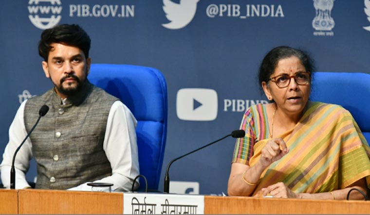 Union Minister of State for Finance & Corporate Affairs Anurag Thakur and Finance Minister Nirmala Sitharaman