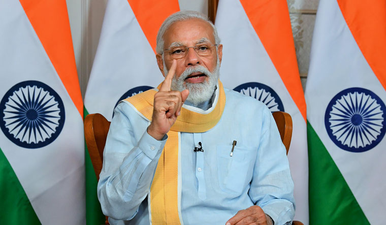 Prime Minister Narendra Modi addresses the 25th Foundation Day of the Rajiv Gandhi University of Health Sciences at Bengaluru via video conferencing | PTI