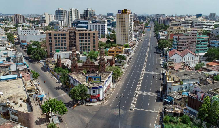 The deserted Mount Road in Chennai during an intensified lockdown   PTI