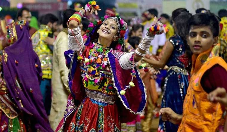 [File] People performing 'garba' in Gandhinagar | PTI