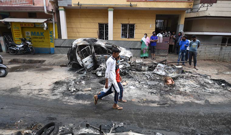 An area at DJ Halli after large-scale violence and arson | Bhanu Prakash Chandra