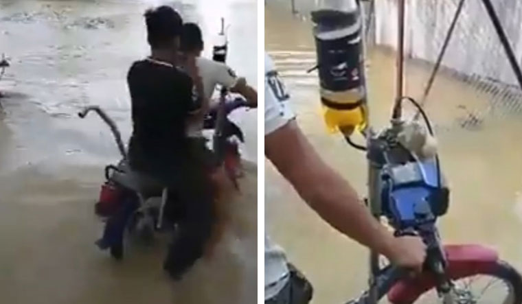 WATCH: Bike 'jugaad' for waterlogged roads wins the internet