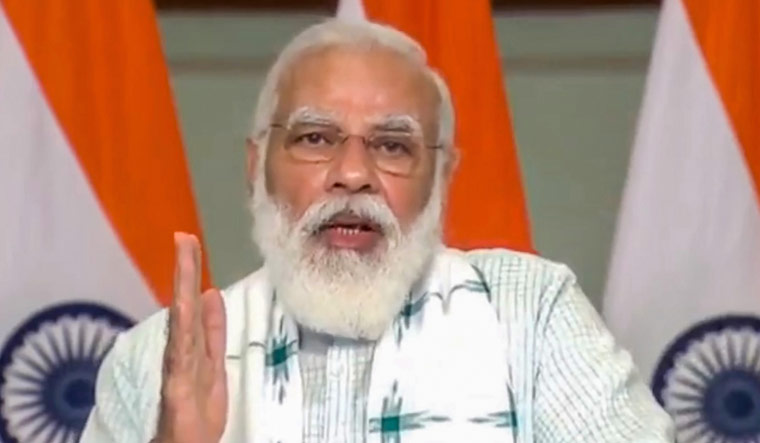 Prime Minister Narendra Modi addresses 'Atmanirbhar Bharat' defence industry outreach webinar via video conference | PTI
