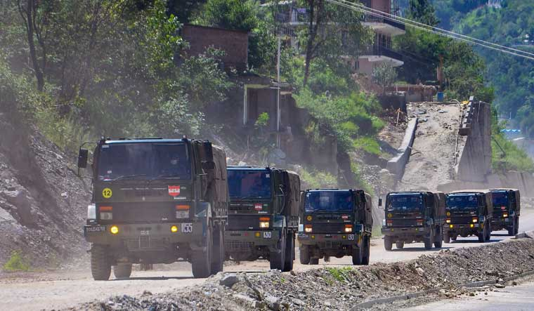 [File] Army trucks move towards Ladakh via the Leh-Manali Highway | PTI