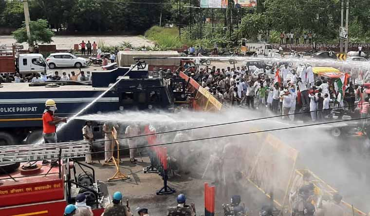 water-cannons-haryana-youth-congress-panipat-Aayush