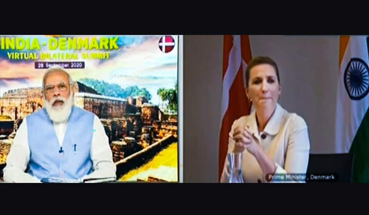 Prime Minister Narendra Modi speaks with Denmark's PM Mette Frederiksen during a virtual bilateral summit | Video grab/PTI