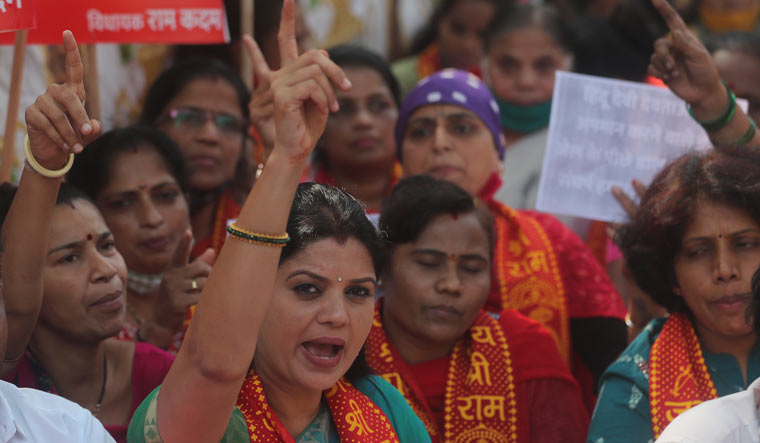 Supporters of BJP shout slogans during a protest against Amazon's new Prime Video series 'Tandav' in Mumbai   AP