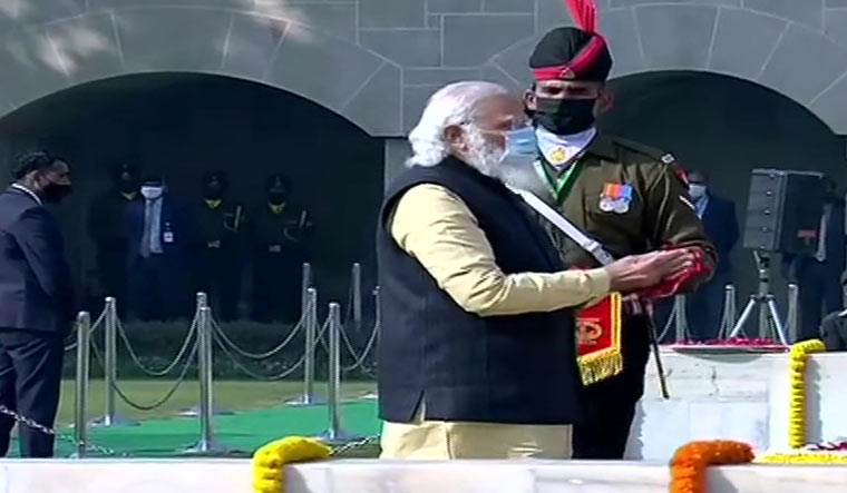 modi at raj ghat ani
