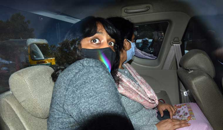 Disha Ravi leaves after being produced at Patiala Court in connection with the toolkit case on Monday | PTI