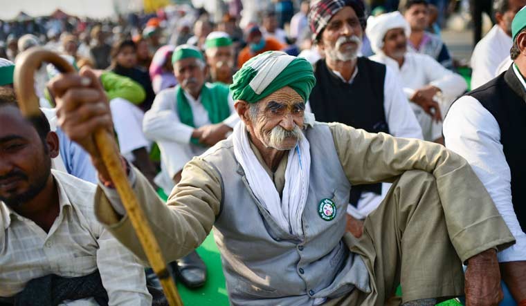 Farmers during the ongoing protest against the new farm laws, at Ghazipur border in New Delhi | PTI