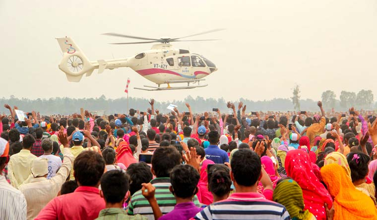 West Bengal Chief Minister Mamata Banerjee arrives in a helicopter for an election campaign rally in support of party candidates for the Assembly Polls at Tapan in South Dinajpur district | PTI