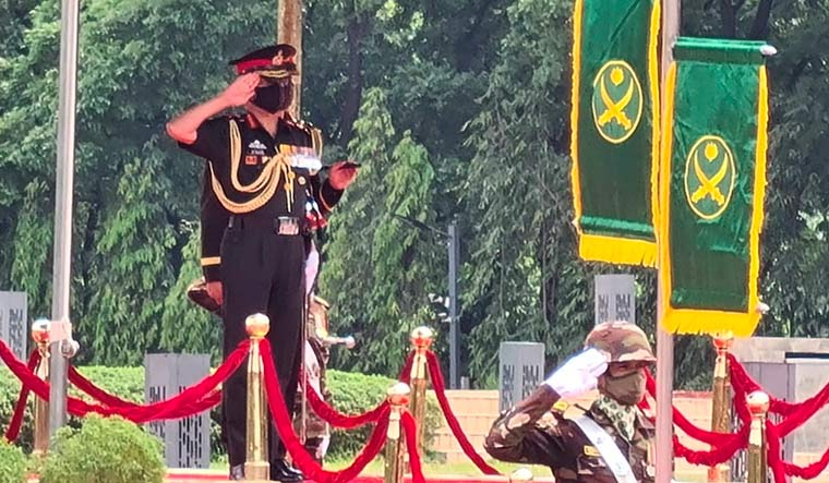 Army Chief General MM Naravane inspects a guard of honour at Shikha Anirban in Dhaka | PTI