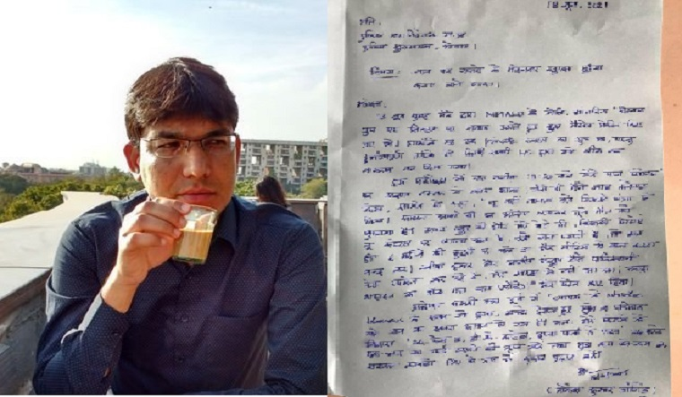 IAS officer Lokesh Kumar Jangid; (right) a copy of his letter to DGP