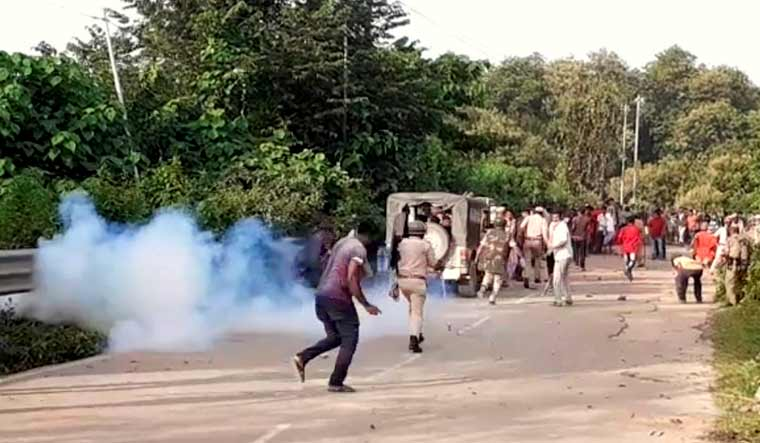 Police personnel during a clash at Assam-Mizoram border at Lailapur in Cachar district on July 26 | PTI
