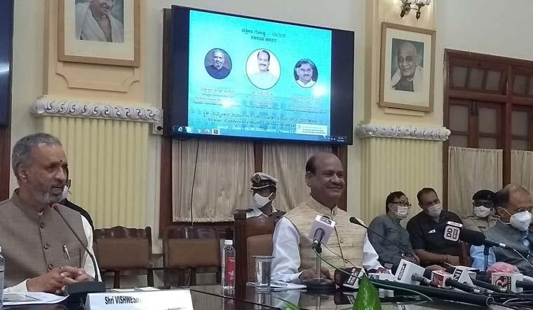 Lok Sabha Speaker Om Birla interacting with media in Bengaluru