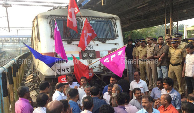 Train blockade Manorama