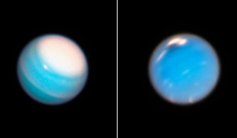 left-storm-circling-around-north-polar-region-on-Uranus-dark-storm-on-Neptune-right