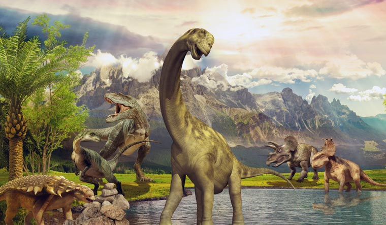dinosaur-Dinosaurs-in-the-park-by-the-lake-shut