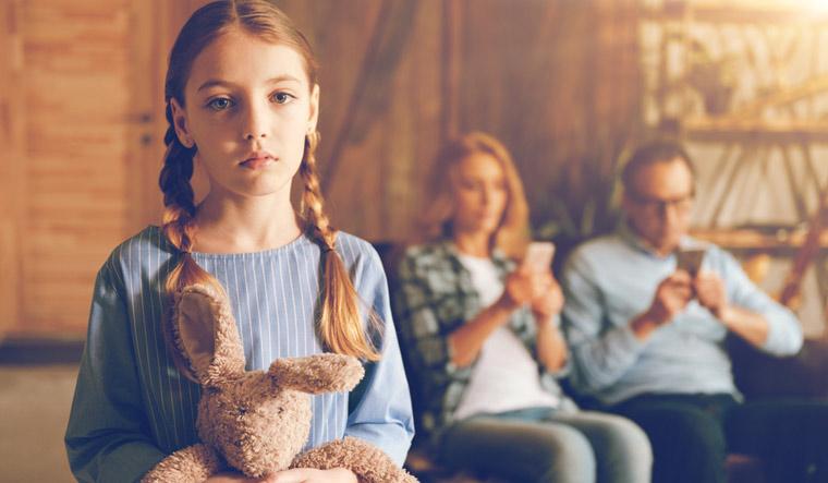 smartphone-parent-parenting-ignored-upset-child-bunny-toy-shut