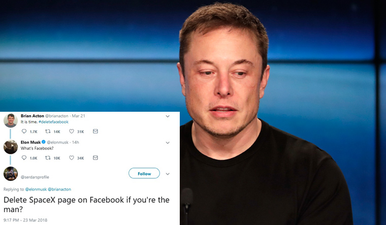 Elon Mask Deletes SpaceX, Tesla Pages Amid #deletefacebook Challenge