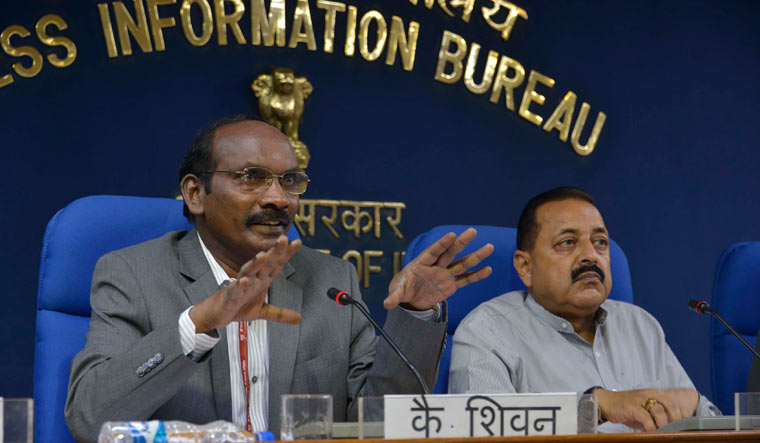 ISRO Chairman K. Sivan (left) and Minister of State for Atomic Energy and Space Jitendra Singh at a press conference in New Delhi | Arvind Jain
