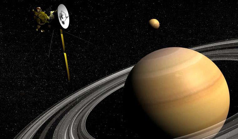Cassini-spacecraft-near-Saturn-and-Titan-satellite-Shutt