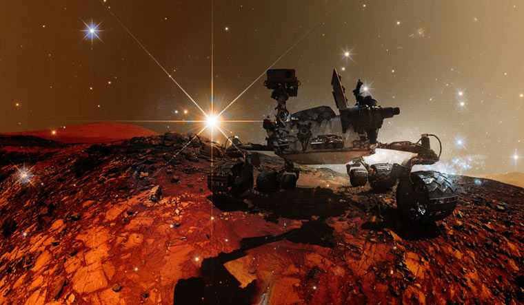 Curiosity-Mars-Rover-exploring-surface-Mars-Shutt