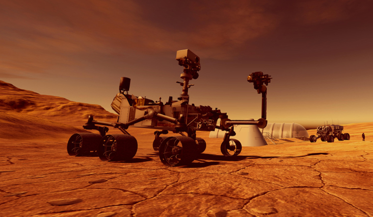 Mars-exploration-vehicle-curiosity-human-colony-in-background-3d-image-shut