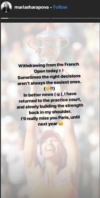 Maria Sharapova's Instagram story