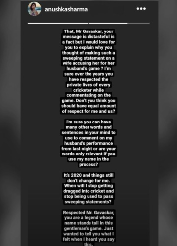 Anushka Sharma posted her response on her Instagram stories