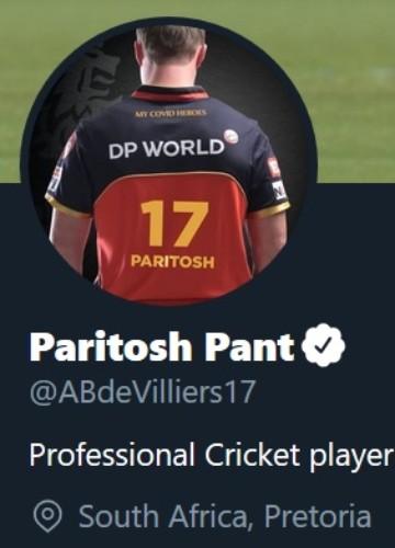 AB de Villiers' Twitter profile