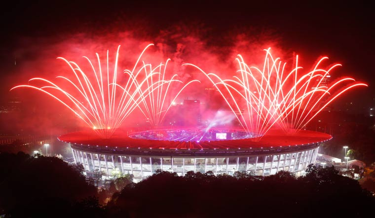 Fireworks illuminate the night sky during the closing ceremony of Asian Games at GBK Main Stadium in Jakarta | Reuters