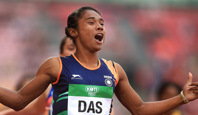 Hima Das wins fourth gold in 15 days, Anas on top spot at Tabor Meet