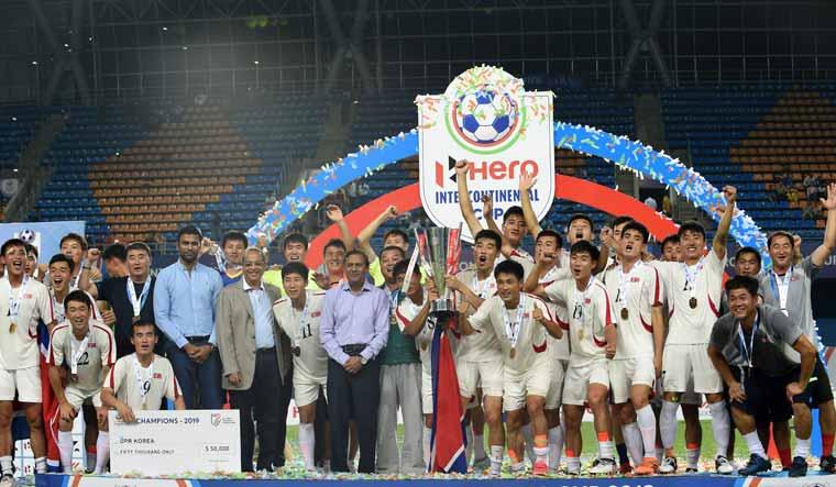North Korea celebrate intercontinental cup win AFP