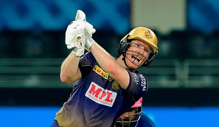 Eoin Morgan, captain of Kolkata Knight Riders, plays a shot | PTI
